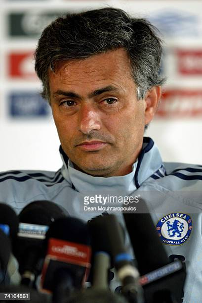 Chelsea Manager Jose Mourinho speaks to the media in a press conference after a Chelsea training session at Chelsea's training ground on May 16 2007...