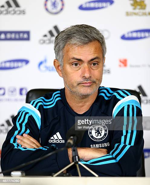 Chelsea manager Jose Mourinho speaks to the press during a Chelsea Press Conference at Chelsea Training Ground on October 24 2014 in Cobham England