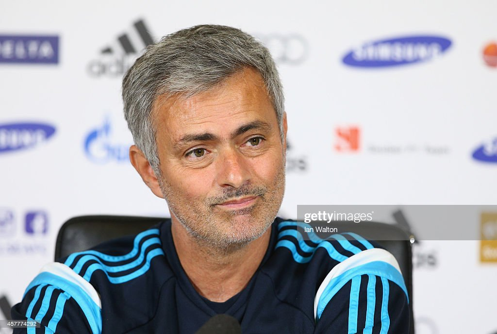 Chelsea manager Jose Mourinho speaks to the press during a Chelsea Press Conference at Chelsea Training Ground on October 24, 2014 in Cobham, England.