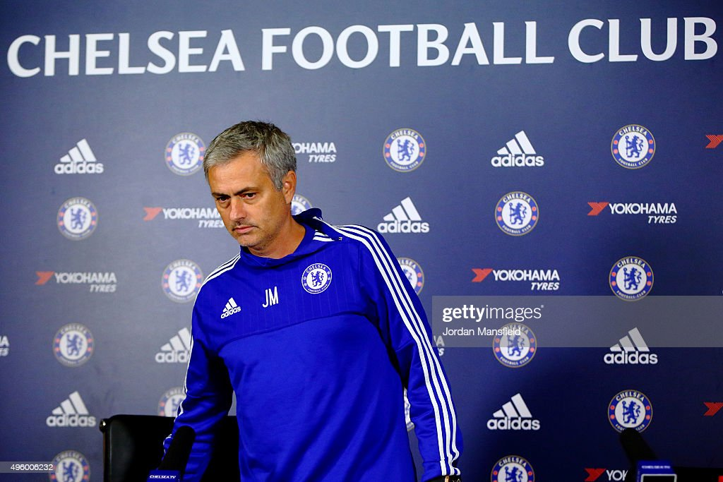 Chelsea manager Jose Mourinho takes his seat during a press conference at Chelsea Training Ground on November 6, 2015 in Cobham, England.