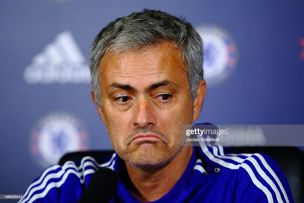 Chelsea manager Jose Mourinho talks to the media during a press conference at Chelsea Training Ground on November 6, 2015 in Cobham, England.