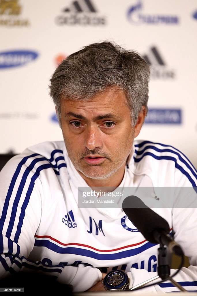 Chelsea Manager Jose Mourinho talks to the press at the Chelsea Training Ground on May 2, 2014 in Cobham, England.