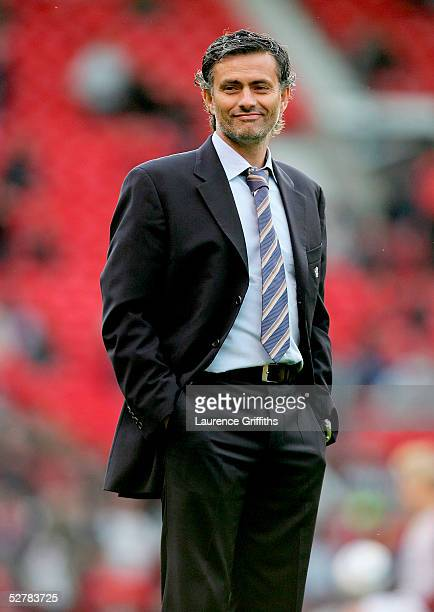 Chelsea Manager Jose Mourinho watches on prior to the FA Barclays Premiership match between Manchester United and Chelsea at Old Trafford on May 10...