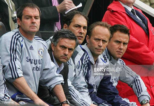 Chelsea Manager Jose Mourinho watches the action from the bench during the Barclays Premiership match between Newcastle United and Chelsea at St...