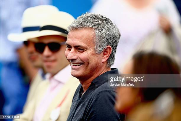 Chelsea manager Jose Mourinho watches the match between Rafael Nadal of Spain and Alexandr Dolgopolov of Ukraine during day two of the Aegon...