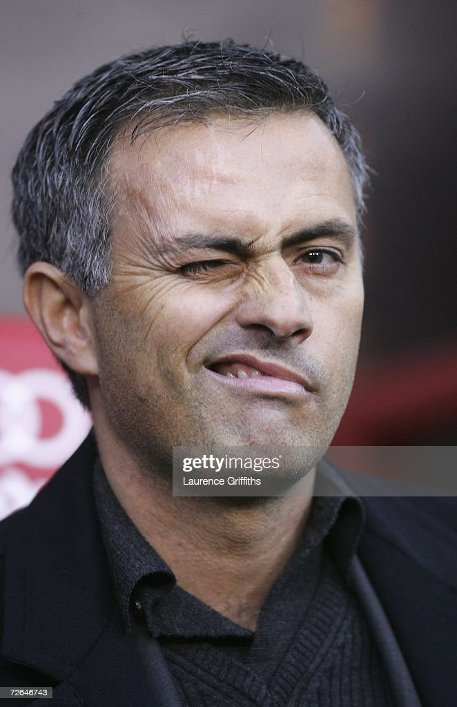 Chelsea Manager Jose Mourinho winks prior to the Barclays Premiership match between Manchester United and Chelsea at Old Trafford on November 26, 2006 in Manchester, England.