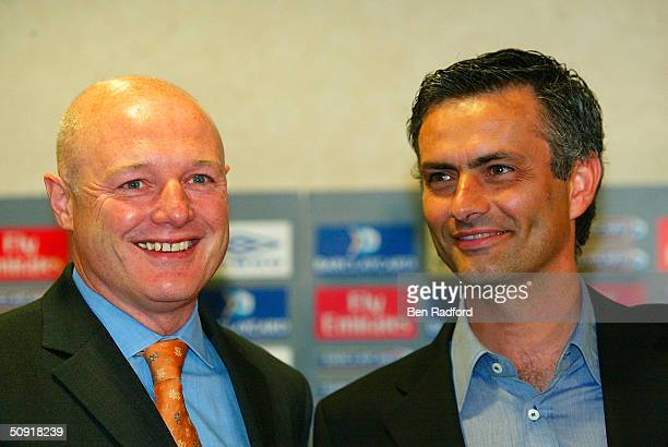 Chelsea Manager Jose Mourinho with Chief Executive Peter Kenyon during the Chelsea press conference at Stamford Bridge on June 2 2004 in London