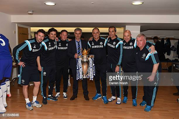 Chelsea Manager Jose Mourinho With His Coaching Staff Celebrate The Premier League Trophy In