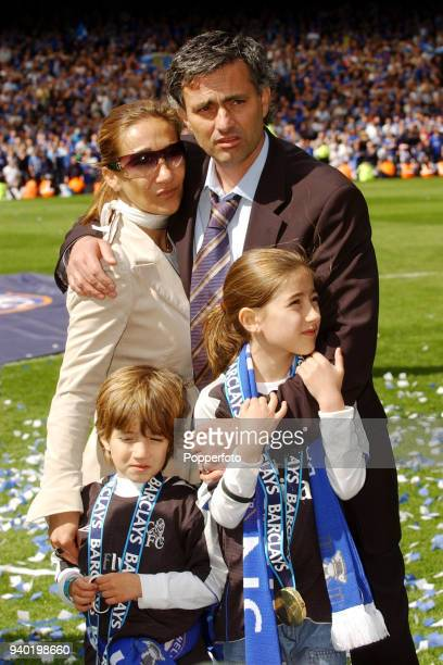 Chelsea manager Jose Mourinho with his family wife Tami son Jose Junior and daughter Matilde following their FA Barclays Premiership title victory...