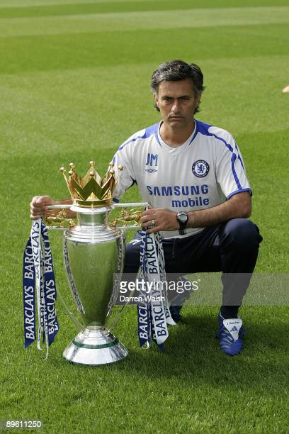 Chelsea manager Jose Mourinho with the FA Barclays Premiership trophy at Chelsea FC's PreSeason Open Day training session held on August 9 2005 at...