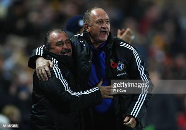 Chelsea Manager Luiz Felipe Scolari celebrates his team's second goal with Assistant Coach Flavio Teixeira during the Barclays Premier League match...