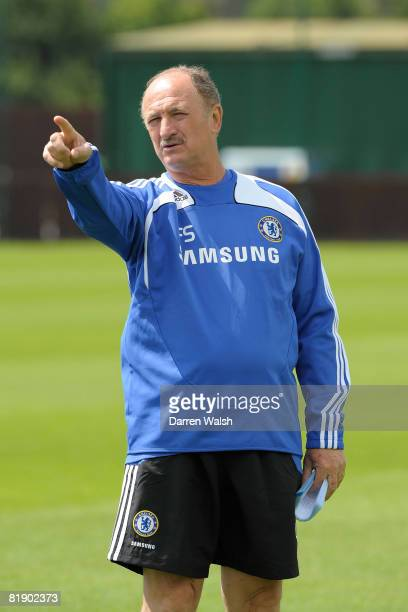 Chelsea manager Luiz Felipe Scolari conducts a Chelsea FC training session on July 11, 2008 in Cobham, England