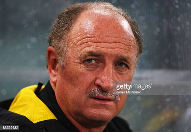 Chelsea Manager Luiz Felipe Scolari looks on during the UEFA Champions League Group A match between AS Roma and Chelsea at the Stadio Olimpico on...