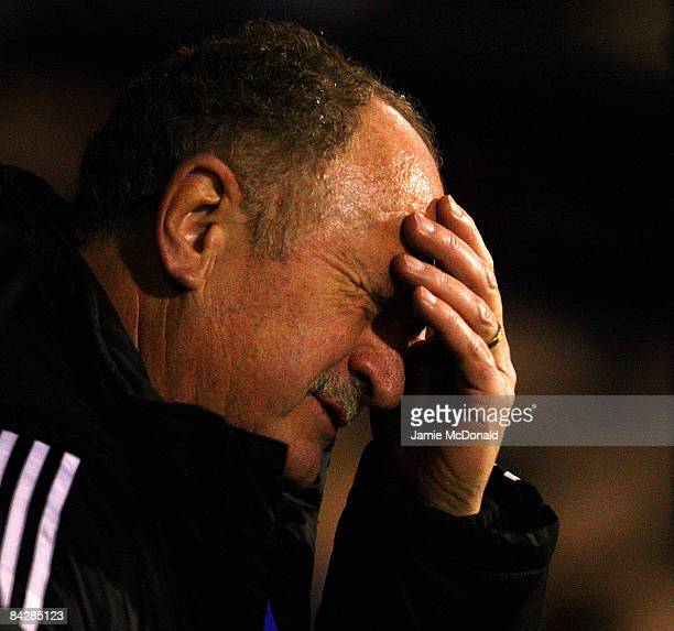 Chelsea Manager Luiz Felipe Scolari reacts during the FA Cup Sponsored by E.on 3rd Round Replay match between Southend United and Chelsea at Roots...