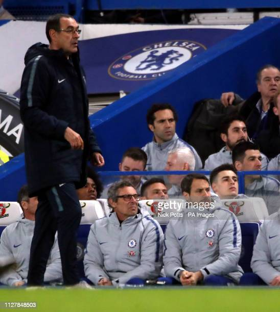 Chelsea manager Maurizio Sarri and goalkeeper Kepa Arrizabalaga on the bench during the Premier League match at Stamford Bridge London