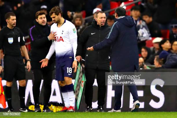 Chelsea manager Maurizio Sarri argues with the fourth official on the sidelines during the Carabao Cup Semi Final First Leg between Tottenham Hotspur...