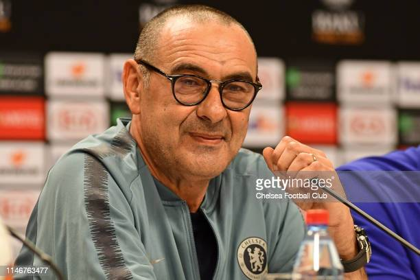 Chelsea Manager Maurizio Sarri at the Press Conference at the Olympic Stadium on May 28, 2019 in Baku, Azerbaijan.