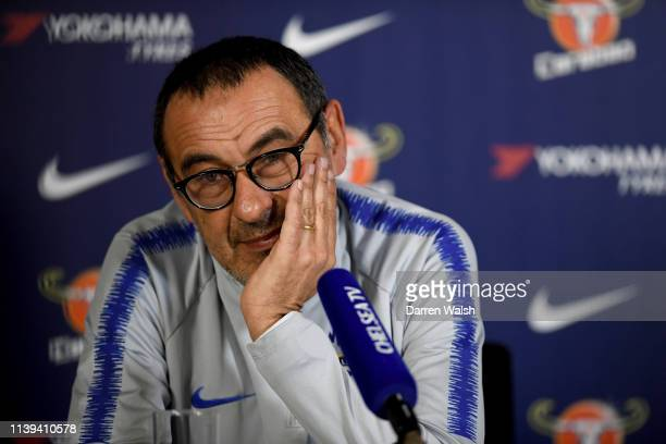 Chelsea manager Maurizio Sarri attends a press conference at Chelsea Training Ground on April 26 2019 in Cobham England