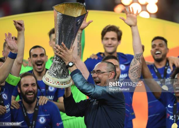 Chelsea manager Maurizio Sarri celebrates with the Europa League Trophy following his team's victory in the UEFA Europa League Final between Chelsea...