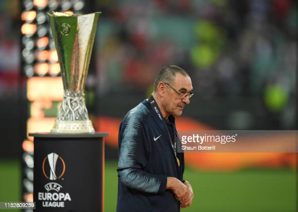 Chelsea manager Maurizio Sarri collects his winners medal following his victory the UEFA Europa League Final between Chelsea and Arsenal at Baku...