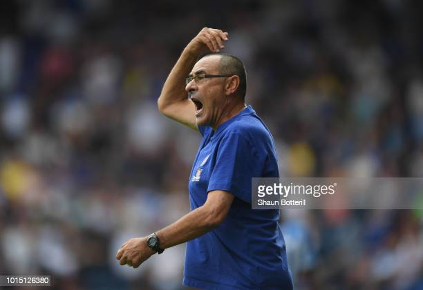 Chelsea manager Maurizio Sarri during the Premier League match between Huddersfield Town and Chelsea FC at John Smith's Stadium on August 11 2018 in...