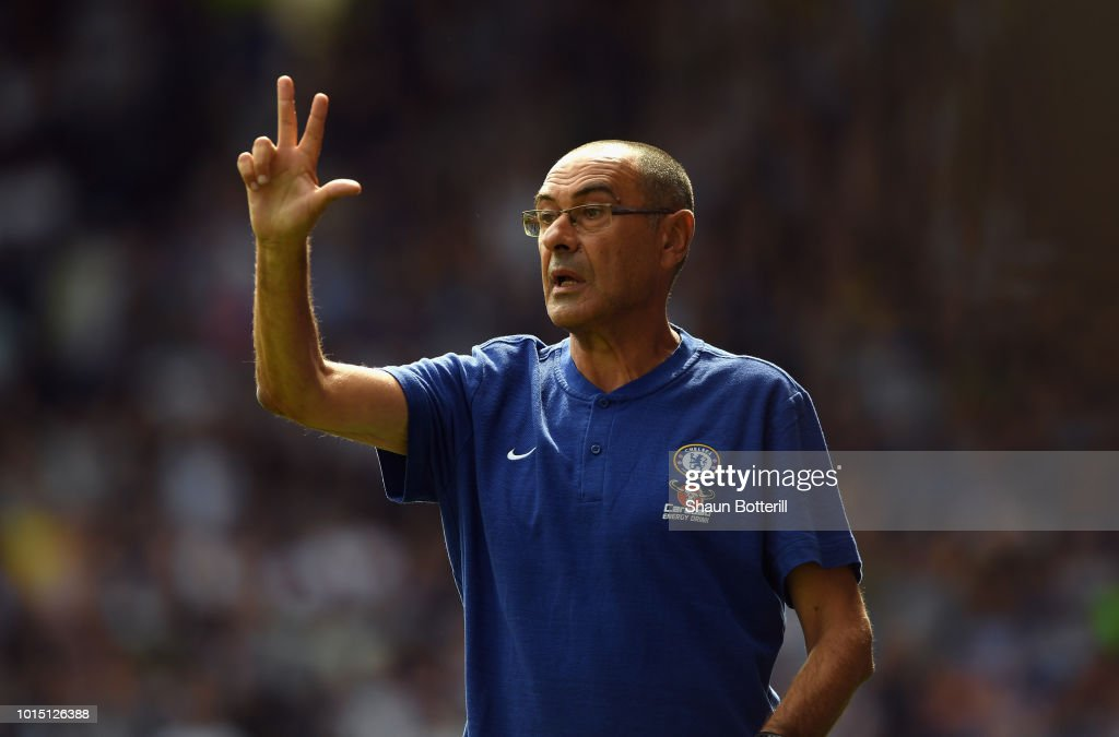 Chelsea manager Maurizio Sarri during the Premier League match between Huddersfield Town and Chelsea FC at John Smith's Stadium on August 11, 2018 in Huddersfield, United Kingdom.