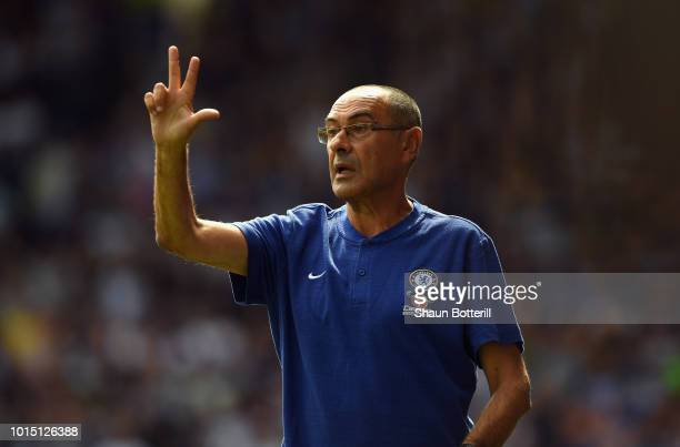 Chelsea manager Maurizio Sarri during the Premier League match between Huddersfield Town and Chelsea FC at John Smith's Stadium on August 11, 2018 in...