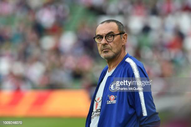 Chelsea manager Maurizio Sarri during the Preseason friendly International Champions Cup game between Arsenal and Chelsea at Aviva stadium on August...