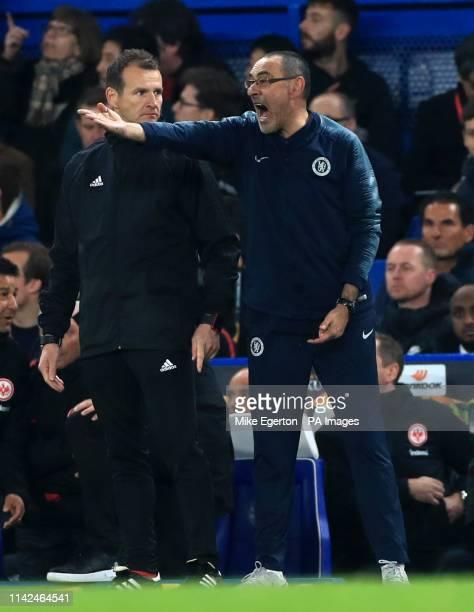 Chelsea manager Maurizio Sarri during the UEFA Europa League Semi Final Second Leg at Stamford Bridge London