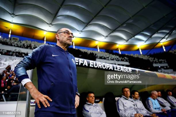 Chelsea manager Maurizio Sarri looks on before the UEFA Europa League Semi Final First Leg match between Eintracht Frankfurt and Chelsea at...