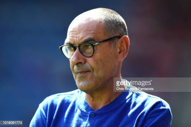 Chelsea manager Maurizio Sarri looks on during the Premier League match between Huddersfield Town and Chelsea FC at John Smith's Stadium on August 11...
