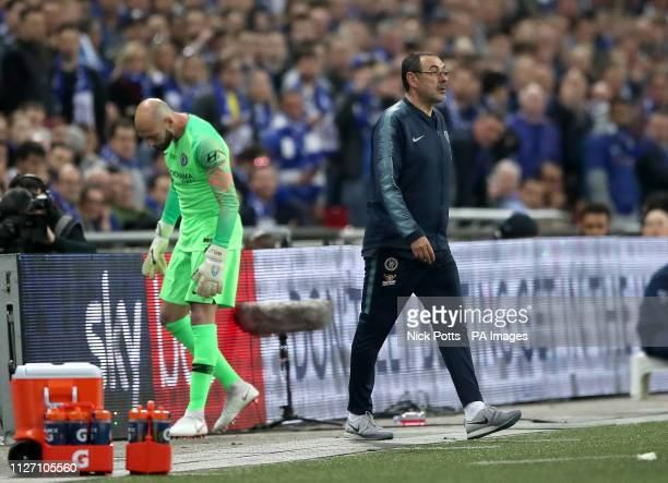 Chelsea manager Maurizio Sarri looks on next to substitute goalkeeper Willy Caballero as his firstchoice goalkeeper Kepa Arrizabalaga refuses to...
