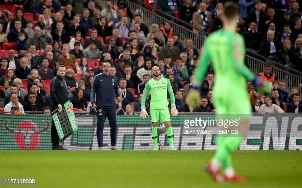 Chelsea manager Maurizio Sarri shouts for Chelsea goalkeeper Kepa Arrizabalaga to leave the pitch Chelsea v Manchester City Carabao Cup Final Wembley...