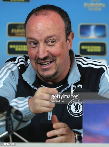 Chelsea manager Rafael Benitez speaks to the press during a Press Conference on April 3, 2013 in Cobham, England.