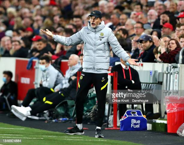 Chelsea Manager Thomas Tuchel gestures during the Premier League match between Brentford and Chelsea at Brentford Community Stadium on October 16,...