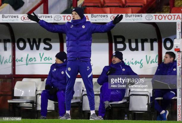 Chelsea manager Thomas Tuchel shouts instructions to his team from the technical area during the Emirates FA Cup Fifth Round match between Barnsley...