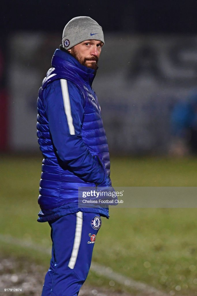 Chelsea manger Jody Morris during the FA youth cup match between Tottenham Hotspur and Chelsea at The Lamex Stadium on February 13, 2018 in Stevenage, England.