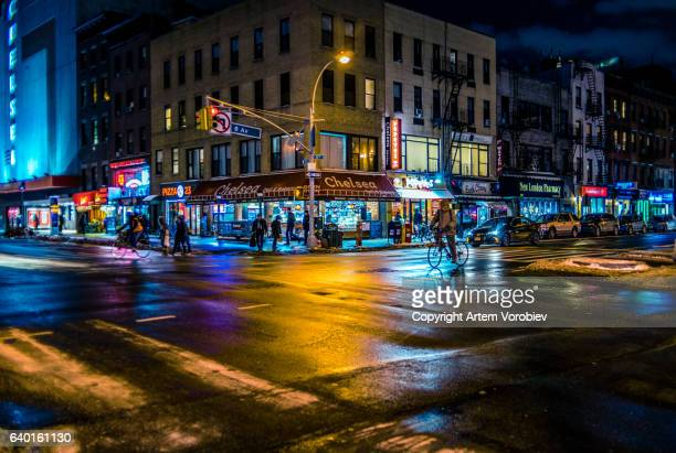 chelsea, manhattan in the evening - chelsea new york stock photos and pictures