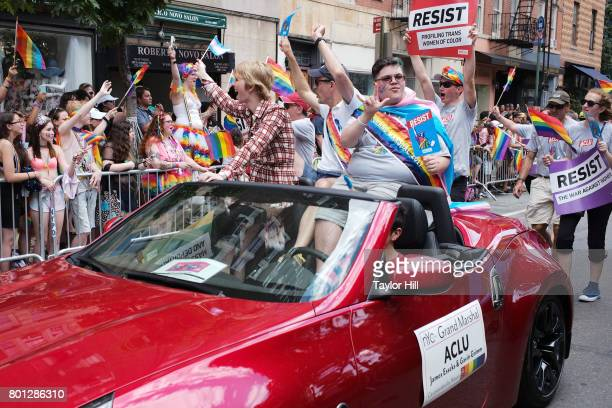 Chelsea Manning and Gavin Grimm ride during the 2017 Pride March in the West Village on June 25, 2017 in New York City.