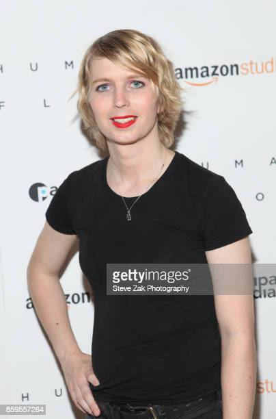 Chelsea Manning attends 'Human Flow' New York Screening at the Whitby Hotel on October 9 2017 in New York City