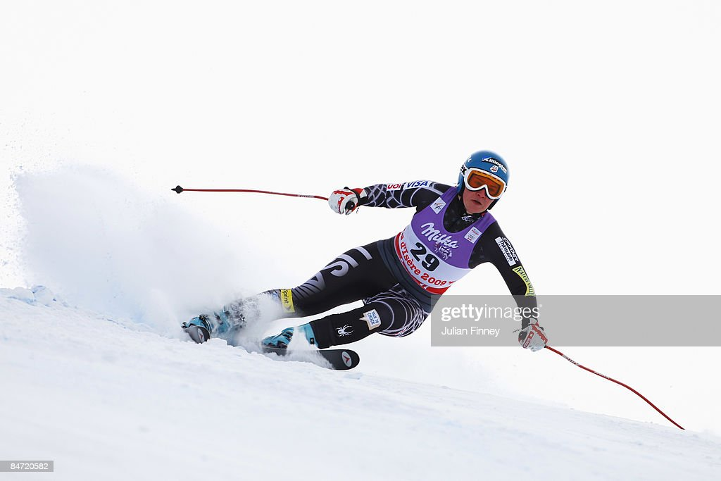 Chelsea Marshall of the United States of America skis during the Women's Downhill event held on the Face de Solaise course on February 9, 2009 in Val d'Isere, France.