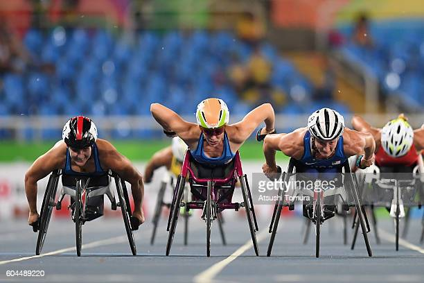Chelsea McClammer Amanda McGrory and Tatyana McFadden of the United States compete in the Women's 1500m T54 Final on day 6 of the Rio 2016 Paralympic...