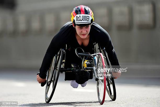 Chelsea McClammer of the USA competes in the Women's Wheelchair Race during the Virgin Money London Marathon on April 24 2016 in London England