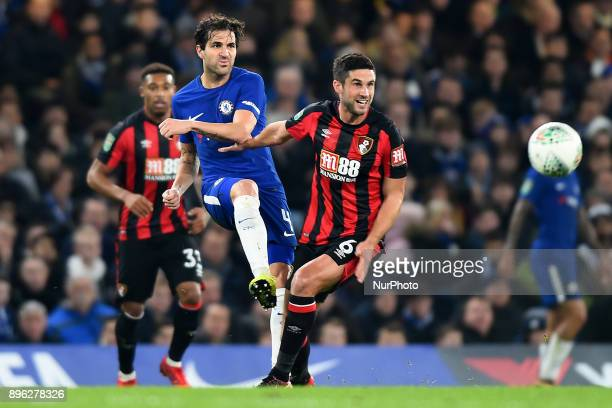 Chelsea Midfielder Cesc Fabregas clears from Bournemouth's Andrew Surman during the Carabao Cup Quarter Final match between Chelsea and AFC...