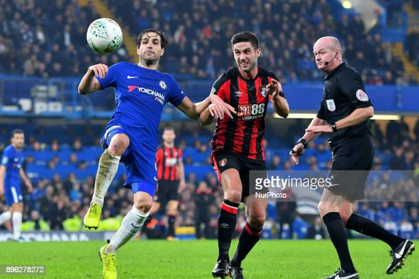 Chelsea Midfielder Cesc Fabregas controls from Bournemouth's Andrew Surman during the Carabao Cup Quarter Final match between Chelsea and AFC...