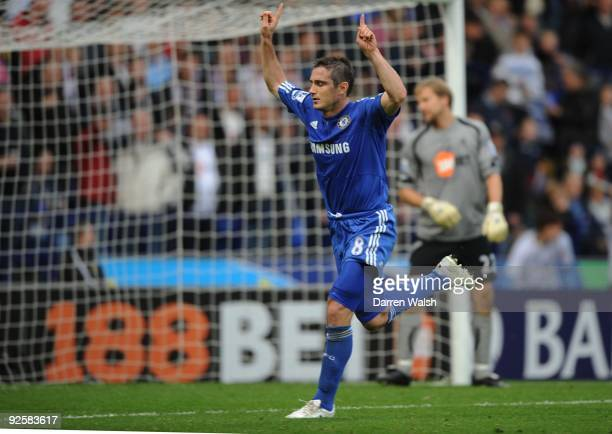Chelsea midfielder Frank Lampard celebrates his penalty during the Barclays Premier League match between Bolton and Chelsea at the Reebok Stadium on...