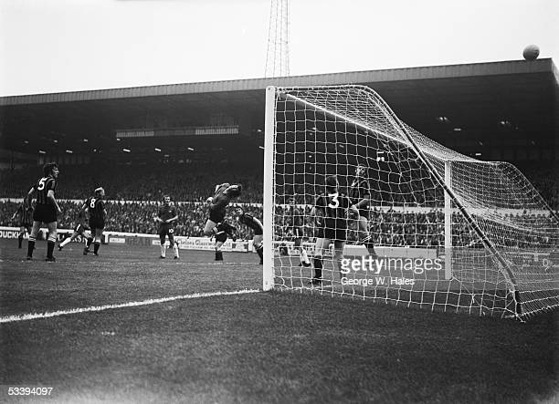 Chelsea miss a shot at goal during their match at home to Manchester City at Stamford Bridge London 21st August 1971