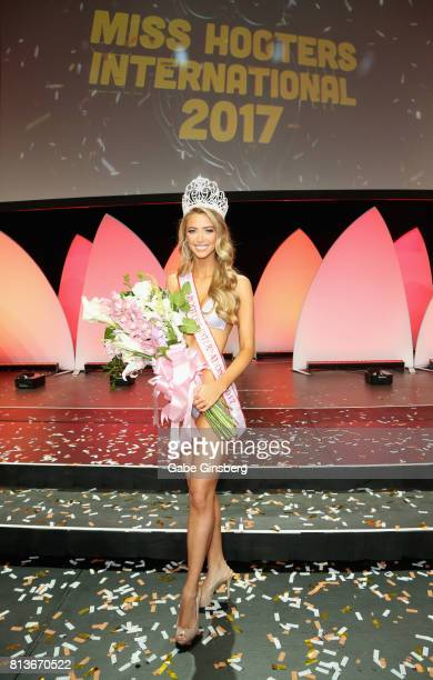 Chelsea Morgensen of Hollywood California poses after being crowned Miss Hooters International 2017 during the 21st annual Hooters International...