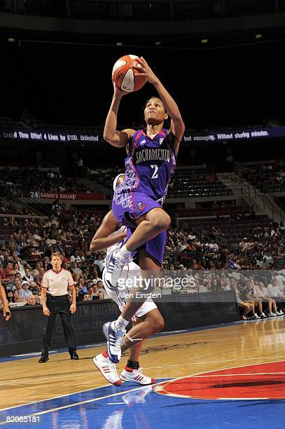 Chelsea Newton of the Sacramento Monarchs takes the ball to the basket during a game against the Detroit Shock at the Palace of Auburn Hills on July...