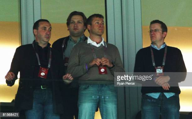 Chelsea owner Roman Abramovich and friends are pictured ahead of the UEFA EURO 2008 Group D match between Greece and Russia at Stadion...